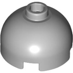 Light Bluish Gray Brick, Round 2 x 2 Dome Top - Hollow Stud with Bottom Axle Holder x Shape + Orientation