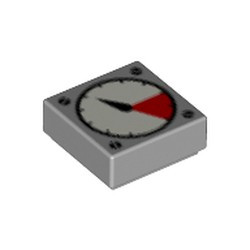 Light Bluish Gray Tile 1 x 1 with Groove with White and Red Gauge, Black Thick Needle, 4 Screw Heads Pattern