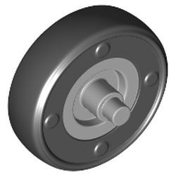 Light Bluish Gray Wheel Small with Stub Axles and Fixed Black Tire 14mm D. x 4mm Smooth