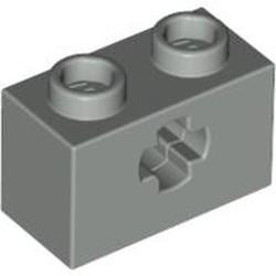 Light Gray Technic, Brick 1 x 2 with Axle Hole