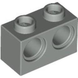 Light Gray Technic, Brick 1 x 2 with Holes