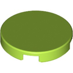 Lime Tile, Round 2 x 2 with Bottom Stud Holder - new