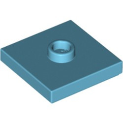 Medium Azure Plate, Modified 2 x 2 with Groove and 1 Stud in Center (Jumper) - new