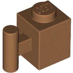 Medium Nougat Brick, Modified 1 x 1 with Bar Handle
