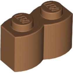 Medium Nougat Brick, Modified 1 x 2 with Log Profile