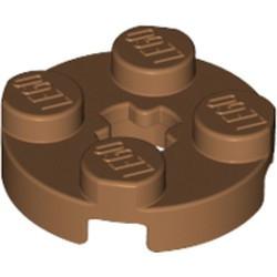 Medium Nougat Plate, Round 2 x 2 with Axle Hole