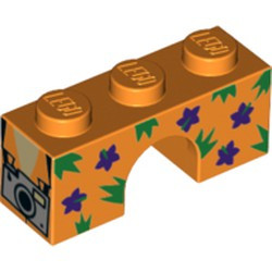 Orange Brick, Arch 1 x 3 with Dark Purple Flowers, Green Spikes and Silver Camera Pattern - new