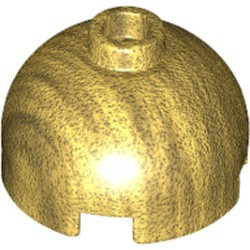 Pearl Gold Brick, Round 2 x 2 Dome Top - Hollow Stud with Bottom Axle Holder x Shape + Orientation - new