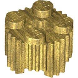 Pearl Gold Brick, Round 2 x 2 with Flutes / Fluted and Axle Hole