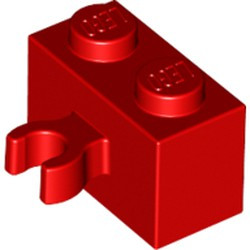 Red Brick, Modified 1 x 2 with Open O Clip Thick (Vertical Grip) - new