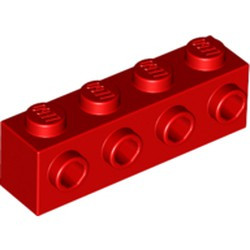 Red Brick, Modified 1 x 4 with 4 Studs on 1 Side - new