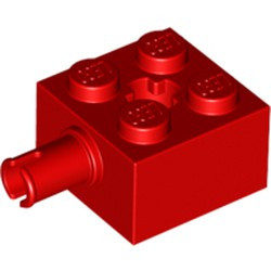 Red Brick, Modified 2 x 2 with Pin and Axle Hole - used