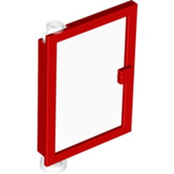 Red Door 1 x 4 x 5 Left with Trans-Clear Glass - used
