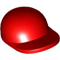 Red Minifigure, Headgear Cap - Short Curved Bill - used