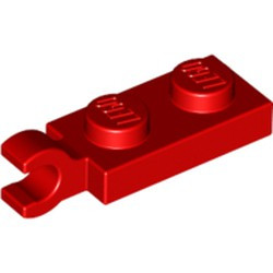 Red Plate, Modified 1 x 2 with Clip on End (Horizontal Grip) - new