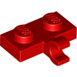 Red Plate, Modified 1 x 2 with Clip on Side (Horizontal Grip) - new