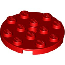 Red Plate, Round 4 x 4 with Hole - new