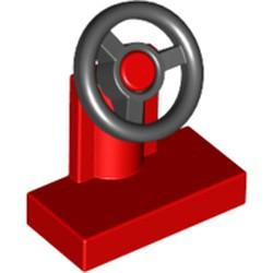 Red Vehicle, Steering Stand 1 x 2 with Black Steering Wheel