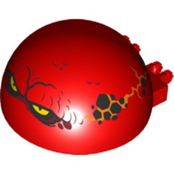 Red Windscreen 6 x 6 x 3 Canopy Half Sphere with Dual 2 Fingers and Globlin with Squinting Yellow Eyes Pattern - used