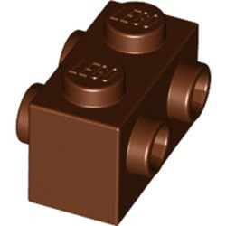 Reddish Brown Brick, Modified 1 x 2 with Studs on 2 Sides