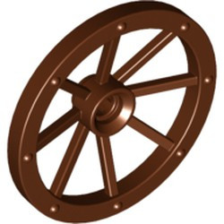 Reddish Brown Wheel Wagon Large 33mm D., Hole Notched for Wheels Holder Pin - used