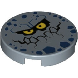 Sand Blue Tile, Round 2 x 2 with Bottom Stud Holder with Rock Creature Face with Jagged Grin, Dark Blue Spots and Yellow Eyes Pattern - used