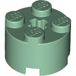 Sand Green Brick, Round 2 x 2 with Axle Hole - new