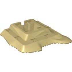 Tan Baseplate, Raised 18 x 22 No Studs Two Level, 11 Holes