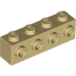 Tan Brick, Modified 1 x 4 with 4 Studs on 1 Side