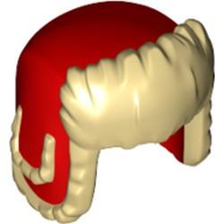 Tan Minifigure, Headgear Ushanka Hat with Red Pattern - new