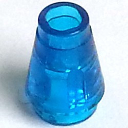 Trans-Dark Blue Cone 1 x 1 with Top Groove