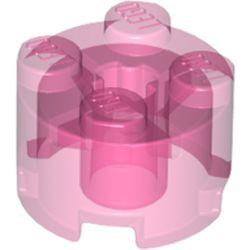 Trans-Dark Pink Brick, Round 2 x 2 with Axle Hole