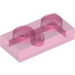 Trans-Dark Pink Plate 1 x 2 - new