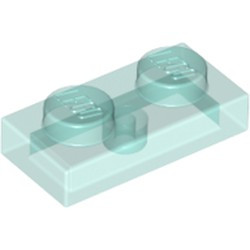Trans-Light Blue Plate 1 x 2 - used