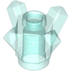 Trans-Light Blue Rock 1 x 1 Crystal 4 Point (Brick, Round 1 x 1 with 4 Upward Fins / Points) - used