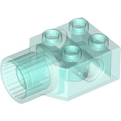 Trans-Light Blue Technic, Brick Modified 2 x 2 with Pin Hole, Rotation Joint Socket