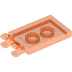 Trans-Neon Orange Tile, Modified 2 x 3 with 2 Open O Clips - used