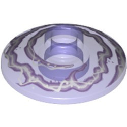 Trans-Purple Dish 2 x 2 Inverted (Radar) with Lavender and White Electricity Pattern - used