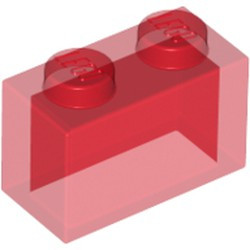 Trans-Red Brick 1 x 2 without Bottom Tube - new