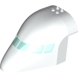 White Aircraft Fuselage Forward Top Curved 8 x 12 x 6 with 6 Window Panes and Trans-Light Blue Glass