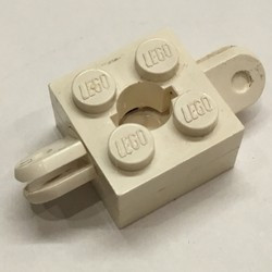 White Arm Holder Brick 2 x 2 with Hole and 2 Arms - used