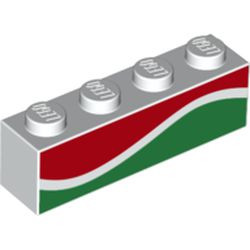 White Brick 1 x 4 with Red and Green Waves (Octan Fuel) - new Pattern