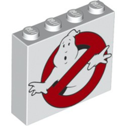 White Brick 1 x 4 x 3 with Ghostbusters Logo Pattern