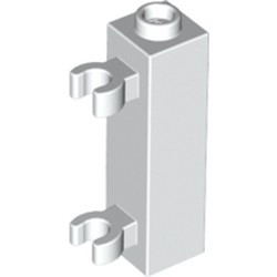 White Brick, Modified 1 x 1 x 3 with 2 Clips (Vertical Grip) - used - Hollow Stud