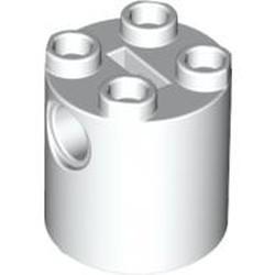 White Brick, Round 2 x 2 x 2 Robot Body - with Bottom Axle Holder x Shape + Orientation - used