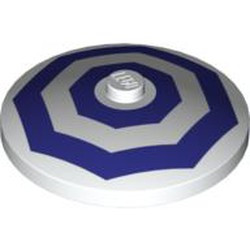 White Dish 4 x 4 Inverted (Radar) with Solid Stud with 2 Dark Purple Octagons Pattern - used