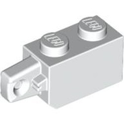 White Hinge Brick 1 x 2 Locking with 1 Finger Vertical End
