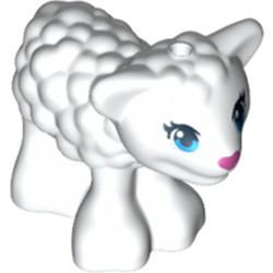 White Lamb with Dark Azure Eyes, Dark Pink Nose and Black Eyelashes Pattern - used