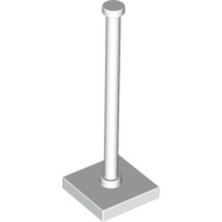 White Support 2 x 2 x 5 Bar on Tile Base with Solid Stud and Stop Ring