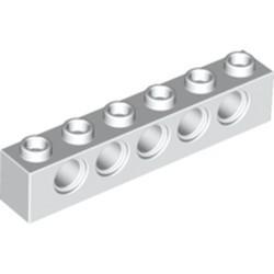 White Technic, Brick 1 x 6 with Holes - new